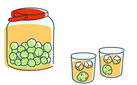 Image illustration of two people drinking plum wine