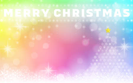 Snowflake and Christmas tree illumination background material 写真素材