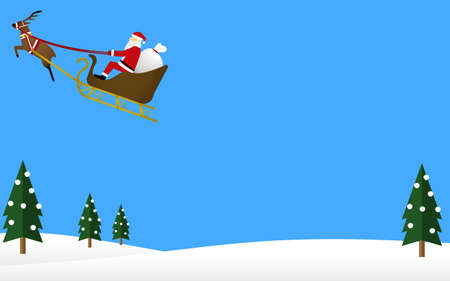 Santa Claus and reindeer flying in the sky  イラスト・ベクター素材