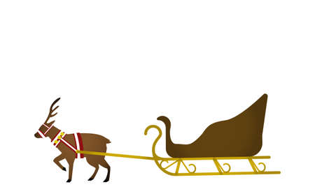Reindeer pulling an empty sled  イラスト・ベクター素材