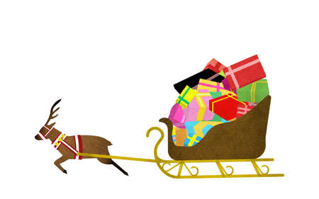 Reindeer carrying a present on a sled