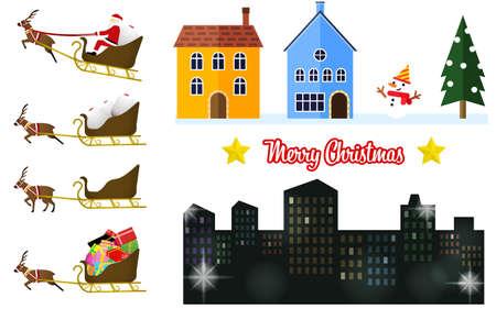 Santa and house illustration set