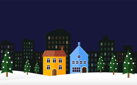 Colorful houses and snow scene  イラスト・ベクター素材
