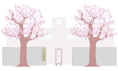 Sakura tree and the main gate of the school Zdjęcie Seryjne