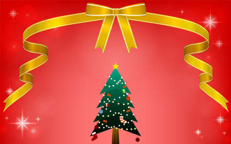 Illustration of Christmas tree with ribbon