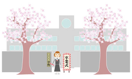 Cherry tree, school front gate and female students