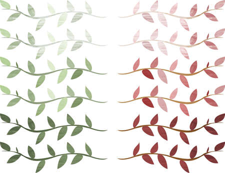 Summer and autumn leaves frame line