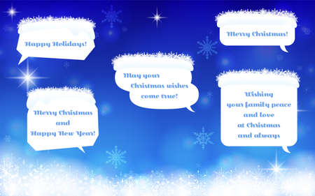 Snow-covered speech bubble illustration and background set