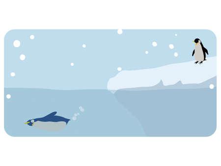 Icebergs and penguins  イラスト・ベクター素材