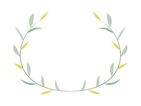Green leaf frame material Ilustracja
