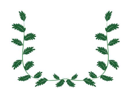 Green leaf frame material  イラスト・ベクター素材