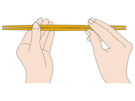 Illustration of how to use chopsticks