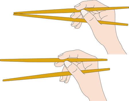Illustration of how to use chopsticks Ilustración de vector