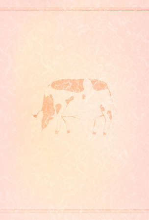2021 New Year's card line art of cow and pink Japanese paper
