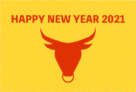 New Year's card of cow silhouette 2021