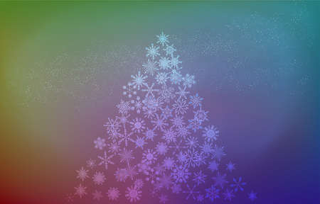 Background material: Christmas tree made of snow and starry sky, iridescent gradient version