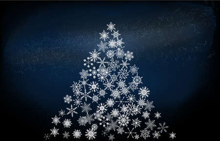 Background material: Christmas tree made of snow and starry sky, blue gradient version Фото со стока