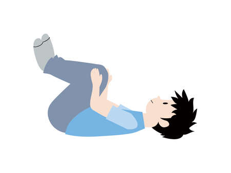 Illustration of a boy stretching for his health