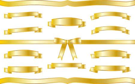 Golden ribbon illustration frame set
