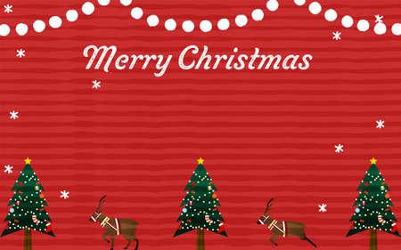 Christmas tree and reindeer greeting card
