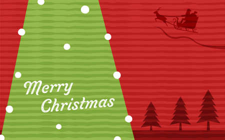 Illustration of Santa Claus and fir tree flying in the sky