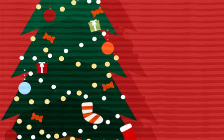 Christmas tree close-up and illustration on red background