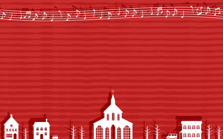 Paper-cutting illustrations of the Christian church and the cityscape