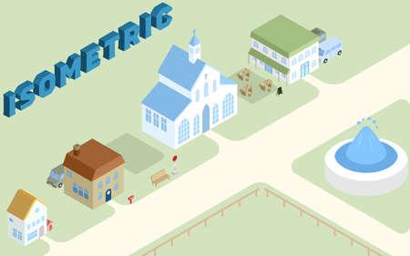 Isometric cute cityscape landscape illustration