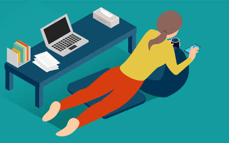 Illustration isometric to lie down and take a break during telework 向量圖像