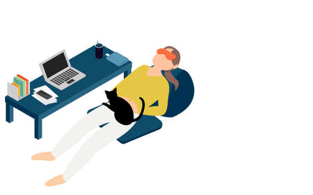A woman who wears an eye mask and takes a nap during telework isometric 向量圖像
