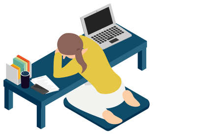 A woman who lays down on a desk and takes a nap during teleworking isometric