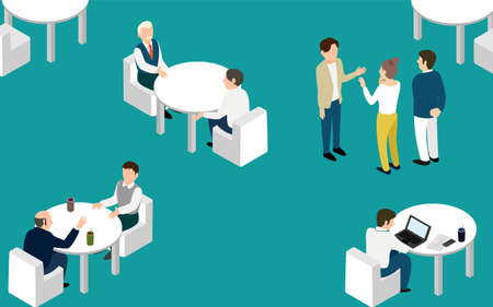 Illustration of a spacious coworking space isometric