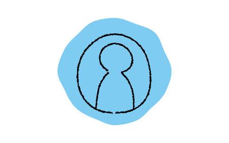 Simple profile icon, pencil writing style Çizim
