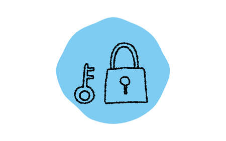 Simple security lock icon, pencil writing style