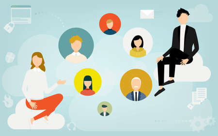 Image illustrations that connect with people using the cloud system