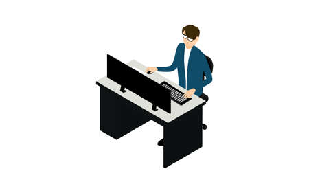 Person who works on a personal computer with dual monitors isometric