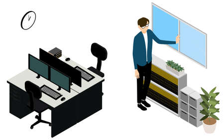 Isometric, a man who opens windows for ventilation in the office