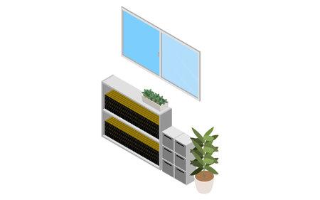 Windows opened for ventilation, isometric