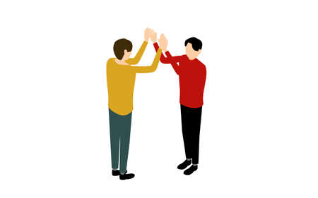 Two men giving high fives, isometric