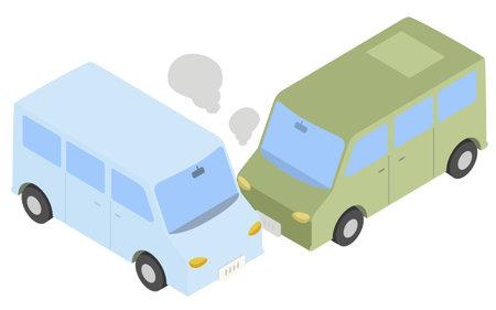 Isometric, illustration of a passenger car crash Ilustración de vector