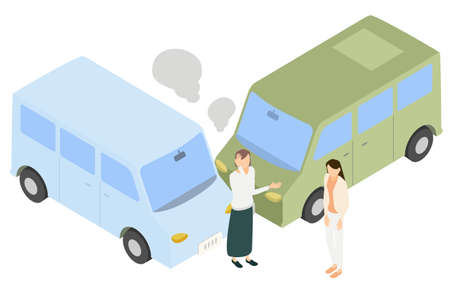 Isometric, drivers who get angry and apologize for a car crash
