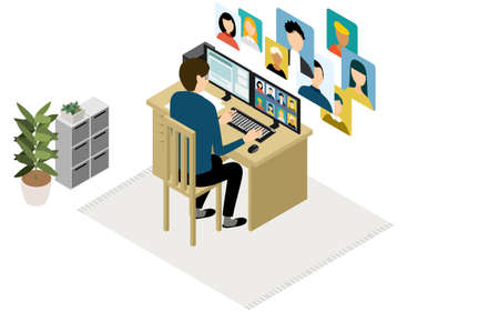 Isometric, teleworking people working from home are having an online meeting