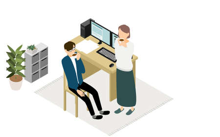 Isometric, where the people who work at home to rest his wife and coffee in telework