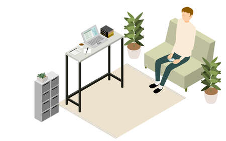 Isometric, teleworking people working at home are taking a break on their smartphones