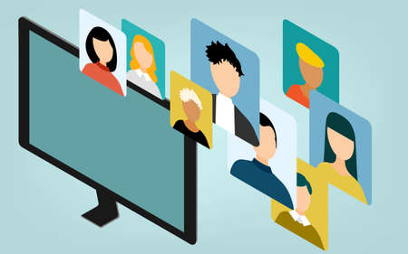 Isometric, online meeting connected image illustration