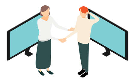 Isometric, image illustrations of people connected via the Internet