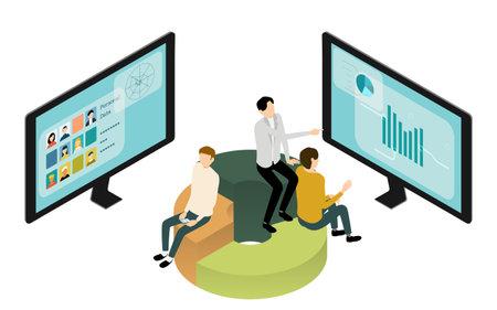 Isometric, image illustrations of people in online meetings