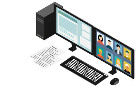 Isometric, PC ready for online meetings