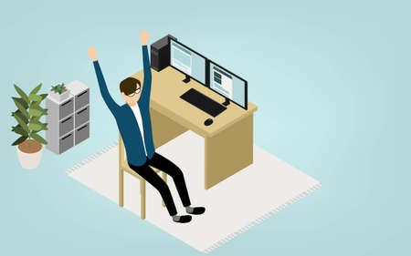 Isometric, teleworking where people working at home stretch Illusztráció