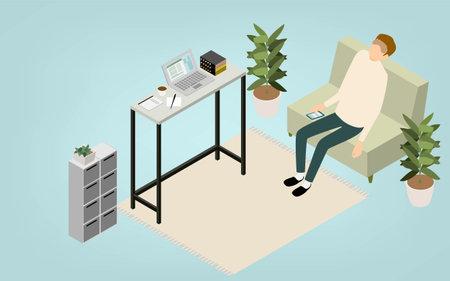 Isometric, teleworking people working at home taking a nap break Vektorové ilustrace